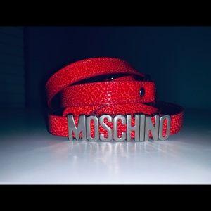 Moschino Thin Red Wraparound Belt - Red